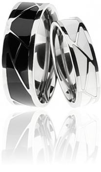 Partnerringe schwarz keramik  TICO von Hand gefertigte Keramik Trauringe mit Diamant!